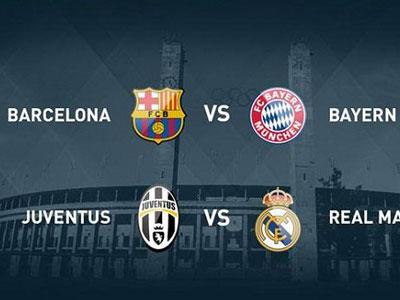 Bốc thăm vòng Bán kết Champions League: Barca gặp Bayern, Juventus gặp Real