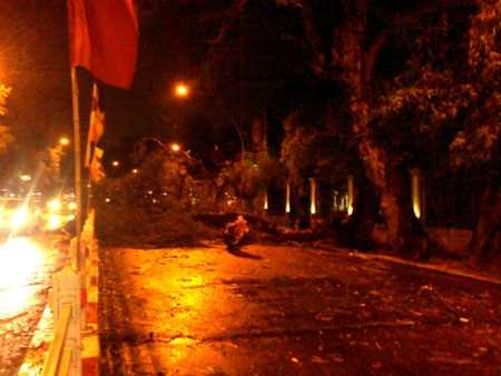 Mưa giông lớn quật ngã nhiều người đi đường ở Hà Nội - 2