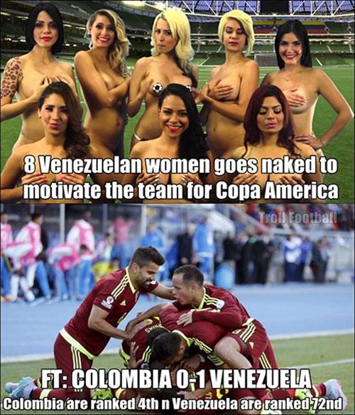 Colombia 0-1 Venezuela: Chiến thắng bất ngờ nhờ... 8 nữ phóng viên khỏa thân?