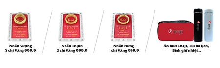 Sắm Trang sức DOJI dễ dàng trúng Vàng 999.9 - 1