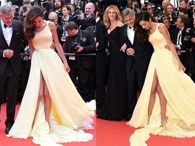Vợ George Clooney khổ sở vì mặc váy quá dài