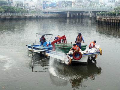Đổ 25 tấn hóa chất ngăn cá chết trên kênh Nhiêu Lộc - Thị Nghè