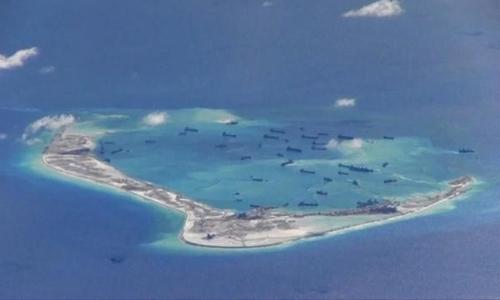 Trung Quốc đã cải tạo trái phép tại đá Vành Khăn, Trường Sa của Việt Nam. Ảnh do máy bay trinh sát Mỹ chụp năm 2015