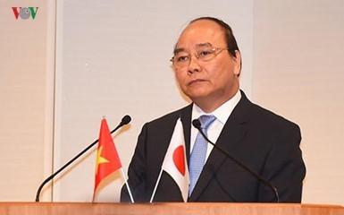 Thủ tướng Nguyễn Xuân Phúc phát biểu tại Đối thoại chính sách kinh tế cao cấp Việt Nam-Nhật Bản. Ảnh: VOV