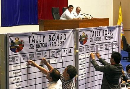 Ủy ban bẩu cử Philippines thực hiện công đoạn cuối cùng trong công tác kiểm phiếu bầu Tổng thống. Ảnh: Philstar