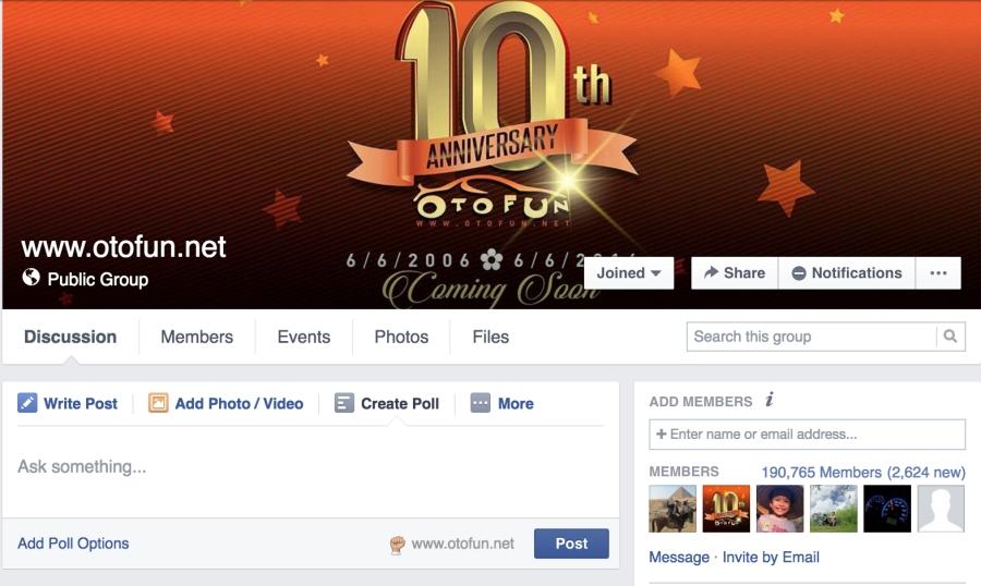 Bắt đầu từ sáng 28/5, group www.otofun.net đã không thể tìm thấy trên Facebook