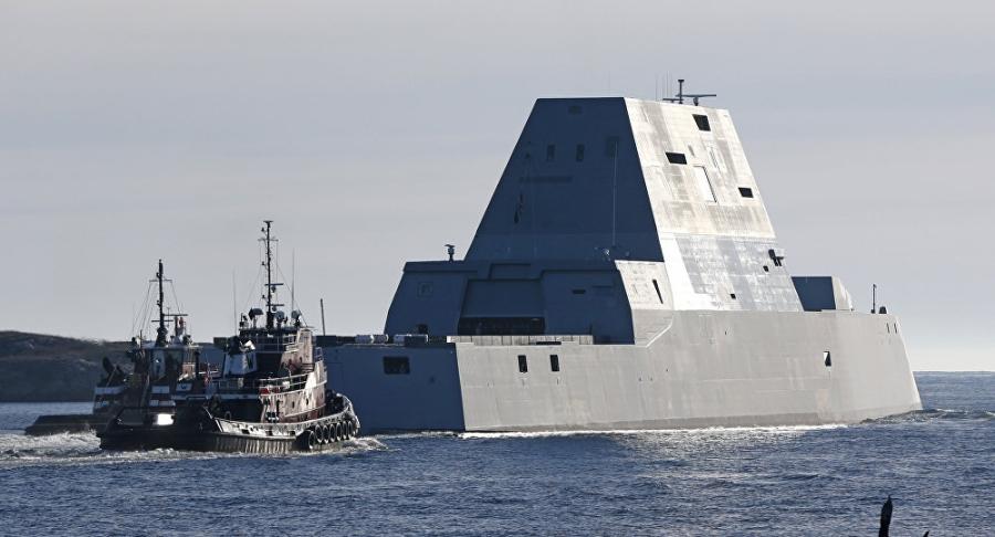 Siêu tàu khu trục Mỹ USS Zumwalt (Ảnh: AP)