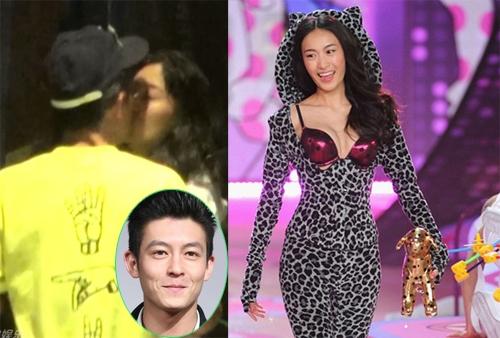 Tần Thư Bồi lộ ảnh ôm hôn Trần Quán Hy. Bên phải là hình ảnh trong show Victoria's Secret của siêu mẫu.