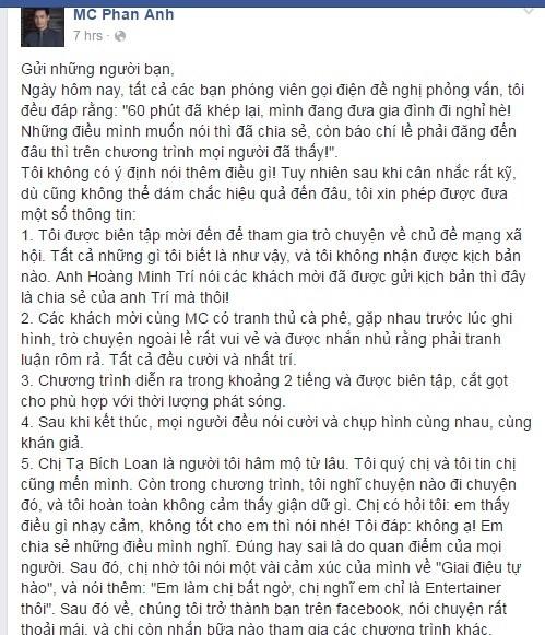 MC Phan Anh: 'Toi khong gian chi Ta Bich Loan' hinh anh 1