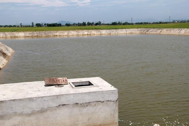 Một biển báo cấm tắm rất nhỏ nằm ở một góc bên hồ nước nơi xảy ra vụ việc. Ảnh: Phan Ngọc