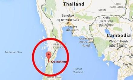 Vị trí dự kiến thực hiện dự án kênh đào Kra (khoanh tròn). Ảnh: Business Insider