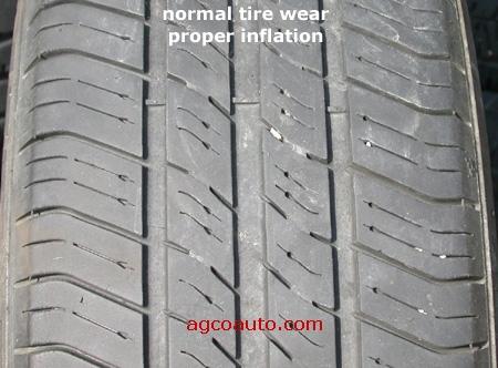 Lốp bơm vừa phải, mặt lốp mòn đều. Ảnh minh họa. Nguồn: internet.