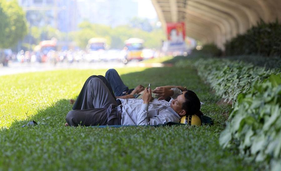 Người dân lao động chọn thảm cỏ dưới cầu vượt đường trên cao làm chỗ ngả lưng buổi trưa.
