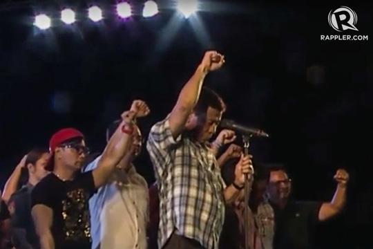 Tân Tổng thống Philippine Rodrigo Duterte tại lễ ăn mừng chiến thắng ở TP Davao hôm 4-6. Ảnh: Rappler