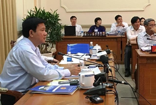 Bí thư Đinh La Thăng nghe các doanh nghiệp bất động sản phản ánh về thực trạng phát triển của các dự án
