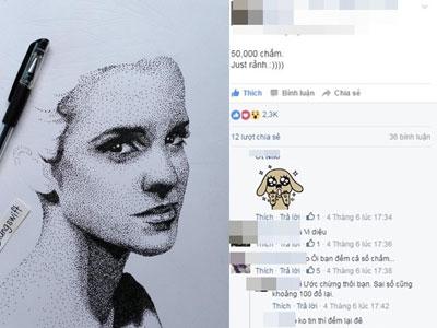 9X có tài vẽ tranh chân dung từ hàng chục nghìn chấm nhỏ