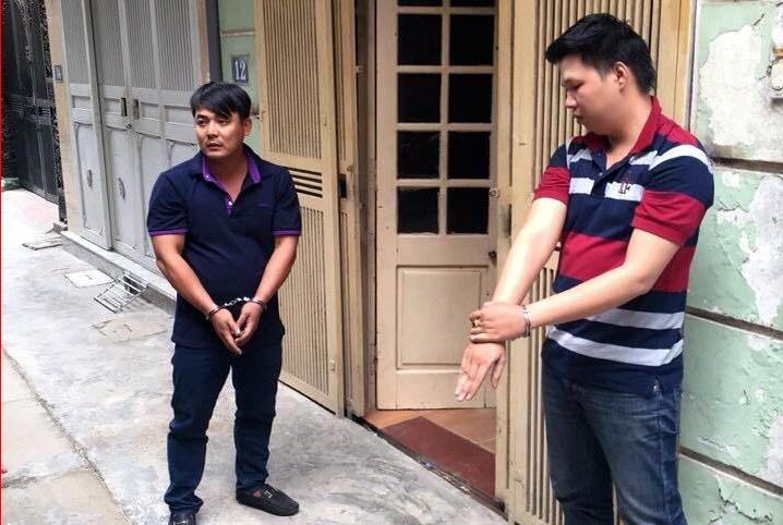Hai đối tượng Trần Nhựt Nhân (áo đen) và Nguyễn Phương Nam.