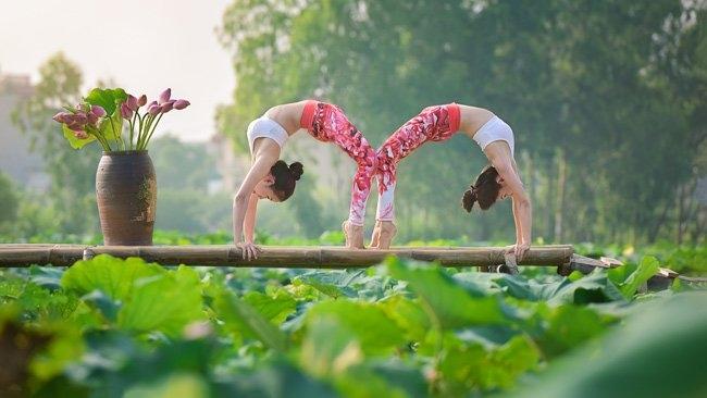 me tit bo anh yoga tuyet dep giua dam sen thom ngat hinh anh 2