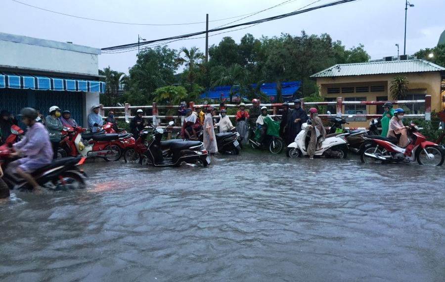 Nhiều người đậu xe ven đường chờ nước rút.