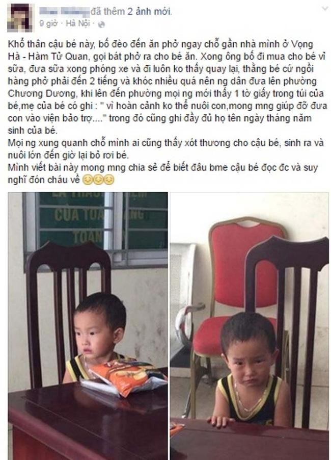 Hà Nội: Bé trai 2 tuổi bị mẹ bỏ rơi ở quán bún phở cùng 200 nghìn đồng trong túi - Ảnh 1.