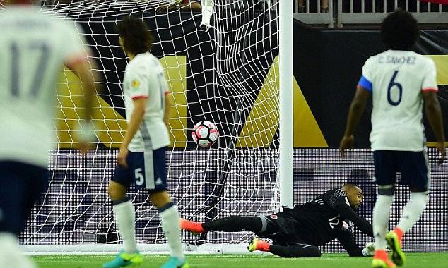 Thủ môn Zapata của Colombia không ngăn được pha ghi bàn của Venegas bên phía Costa Rica