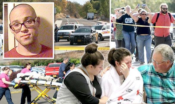 Christopher Harper-Mercer (ảnh nhỏ) đã gây ra vụ thảm sát khiến 9 người thiệt mạng tại trường đại học Umpqua (Ảnh: Express.co.uk)