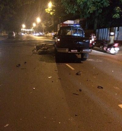 Nhân chứng cho rằng do xe Cảnh sát 113 lấn làn dẫn đến tai nạn (ảnh người dân cung cấp)