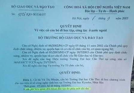 Văn bản của Bộ GD&ĐT nêu rõ kinh phí liên quan đến khóa đào tạo do phía mời đài thọ.