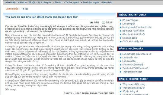 Thư cảm ơn của ông Thơ được đăng trên cổng thông tin điện tử chính thức của TP Đà Nẵng