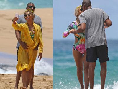 Vợ chồng Beyonce không ngừng tình tứ trên bãi biển