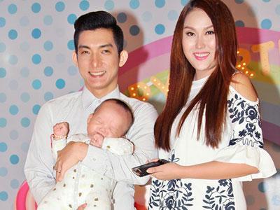 Vợ chồng Phi Thanh Vân bế quý tử dự sinh nhật con gái Trịnh Kim Chi
