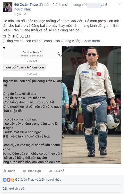 Xúc động bài thơ Đỗ Nhật Nam gửi tặng con gái phi công Trần Quang Khải - Ảnh 1.