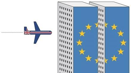 Chuyến bay Brexit. Tranh: Cristina Sampaio (Bồ Đào Nha).
