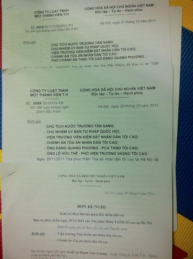 Một số tài liệu liên quan đến vụ án do LS Phạm Văn Cương cung cấp.
