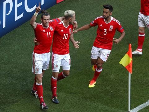 Niềm vui chiến thắng của các cầu thủ xứ Wales