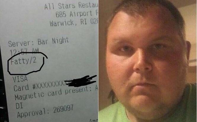 """Biên lai tính tiền với phần tên khách hàng được ghi là """"béo"""" đã khiến chủ nhà hàng đuổi việc con trai của mình  /// Ảnh Facebook"""