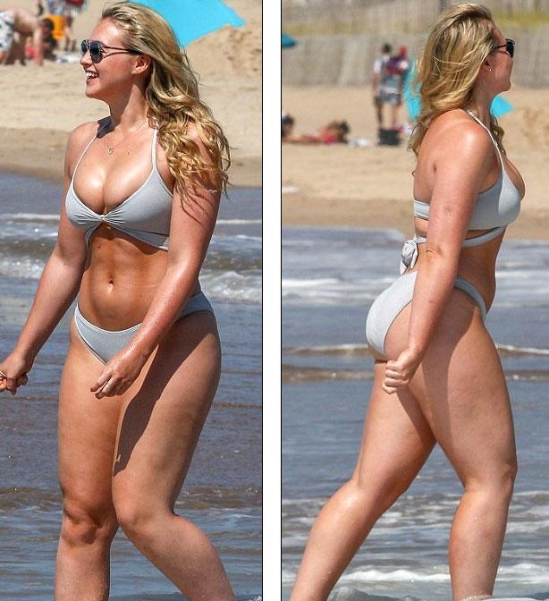 Người đẹp Anh đang đi nghỉ mát tại New York, Mỹ. Cô diện bộ áo tắm hai mảnh nhỏ xíu tung tăng trên bãi biển đầy nắng và gió.