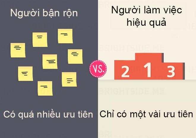 Sự khác biệt giữa người bận rộn với người làm việc hiệu quả