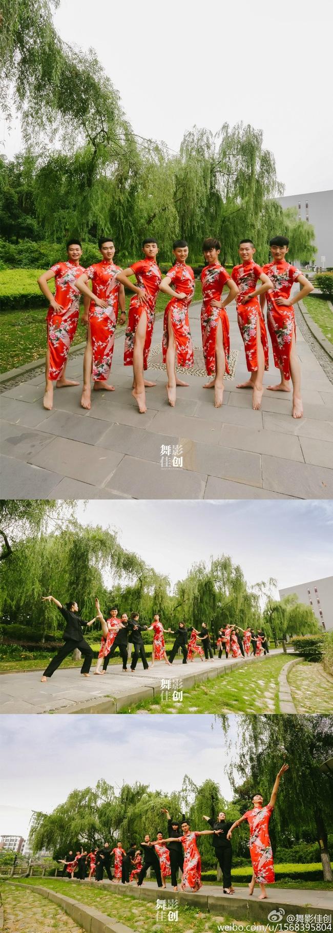 Mặc sườn xám đỏ rực chụp kỷ yếu: Chuyện lạ chắc chỉ nam sinh Trung Quốc mới dám làm! - Ảnh 1.