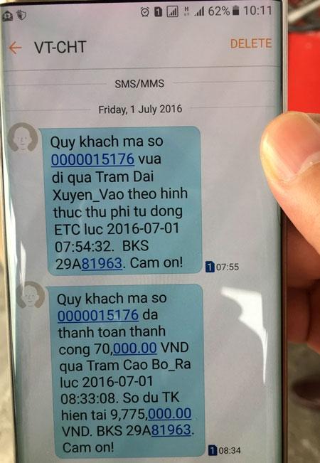 ETC báo về điện thoại của chủ phương tiện về thực hiện thu phí tự động thành công, chủ phương tiện có thể kiểm tra mọi thông tin về tài khoản, mức phí, quãng đường ngay tại chỗ