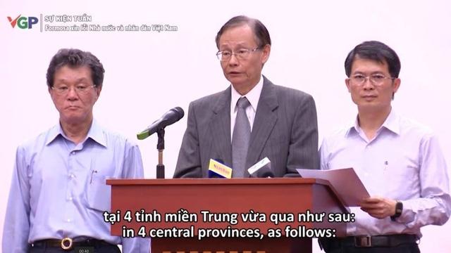 Hình ảnh lãnh đạo Formosa cúi đầu xin lỗi Nhà nước và Nhân dân Việt Nam được phát tại buổi họp báo Chính phủ.