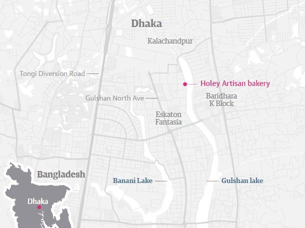 Vụ tấn công xảy ra tại quán cà phê Holey Artisan Bakery ở thủ đô Dhaka (Đồ họa: Guardian)
