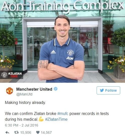 MU thông báo về kỷ lục của Ibrahimovic
