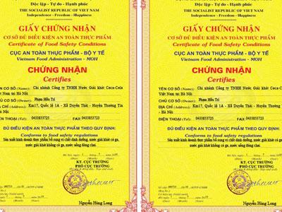 Coca Cola Việt Nam được cấp giấy chứng nhận