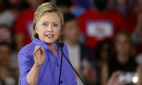 Bà Hillary Clinton trong một buổi diễn thuyết tại bang Ohio, Mỹ. Ảnh: Reuters.