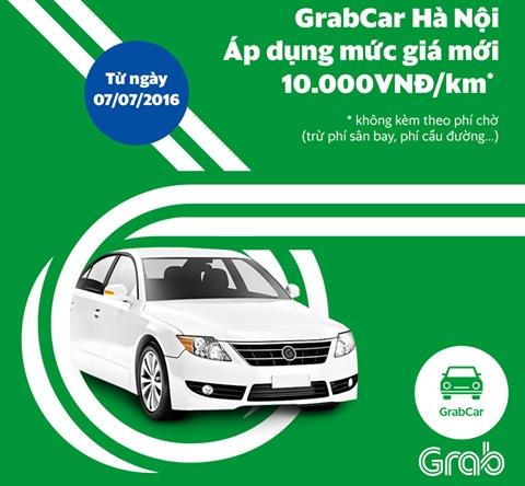 Thông báo tăng giá cước của GrabCar Hà Nội