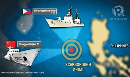 Trung Quốc đã giành quyền kiểm soát bãi cạn Scarborough từ tay Philippines. Ảnh: Rappler.