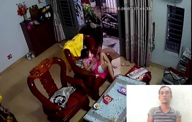 Trần Hữu Tín lúc xông vào phòng khách giật iPad và lúc bị bắt (ảnh nhỏ)  /// Ảnh: Nguyên Bảo