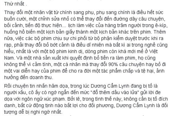 Dương Cẩm Lynh viết tâm thư 3