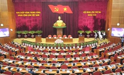 Hội nghị lần thứ ba Ban Chấp hành Trung ương Đảng khóa XII bế mạc vào chiều 7-7 - Ảnh: VGP